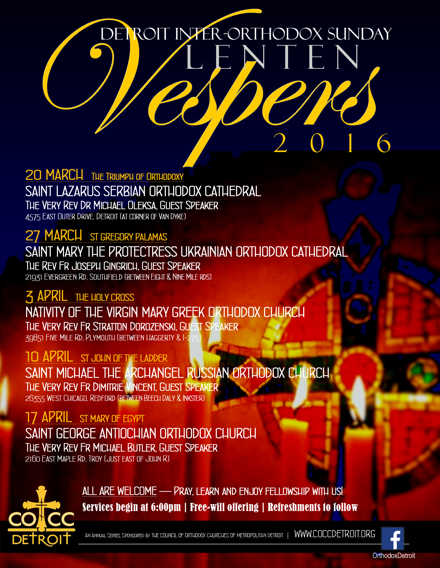 Council of Orthodox Christian Churches to sponsor Sunday Lenten Vespers @ Varied